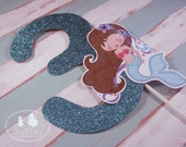Mermaid Party Custom Cake Topper - Blue Lagoon Collection from Tea Party Designs