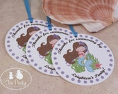 Mermaid Party Custom Favor Tags - Blue Lagoon Collection from Tea Party Designs
