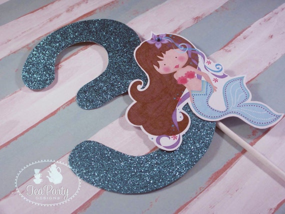 Mermaid Party Custom Age Number Cake Topper - Blue Lagoon Collection