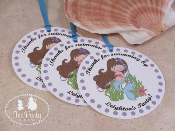 Mermaid Party Custom Favor Tags - Blue Lagoon Collection