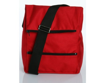 Messenger Bag ,Laptop Bag - Dori in Red Cordora