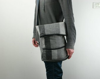 Messenger Bag, Laptop Bag, Gray,Tweed,Striped - Dori