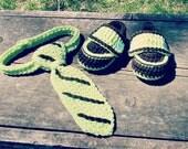 Crochet Baby Booties and Necktie  - Newborn to 24 Months
