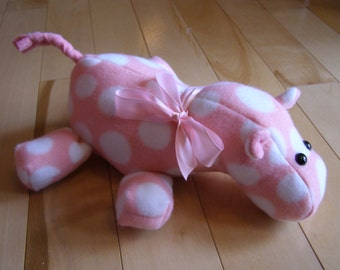 Pink polka dot fleece stuffed hippo
