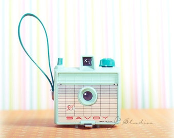 vintage camera photograph, camera art print, fine art photography, imperial savoy, mint green, 50s 60s