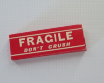 Vintage Dennison Gummed Labels-Fragile Do Not Crush-Seals-Ephemera-10 pieces-New Old Stock