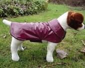 Burgundy Vinyl Raincoat - Size Small 12 to 14  Inch Back Length