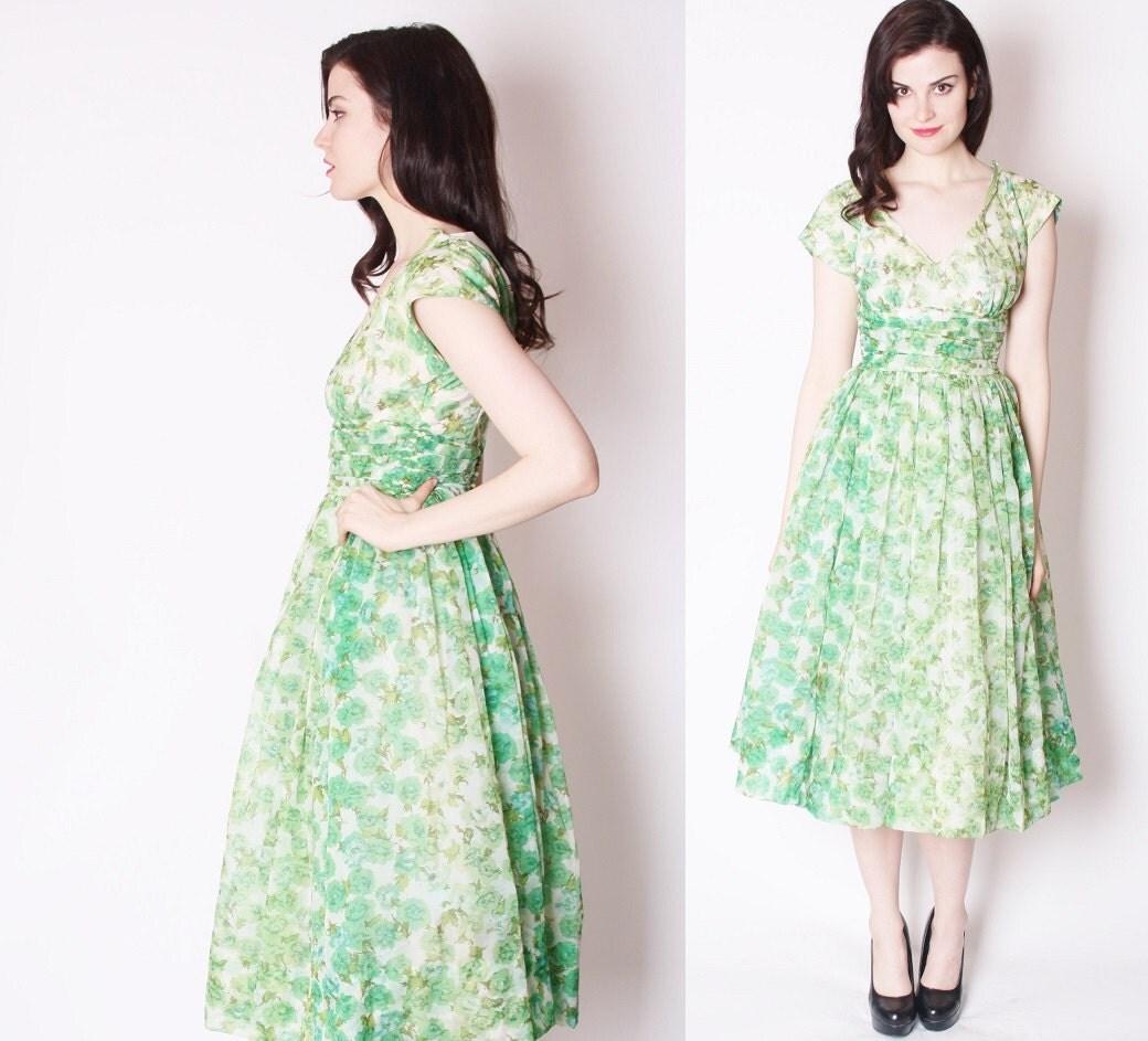50s Emerald Green Rose Wedding Dress / 1950s Wedding Dress