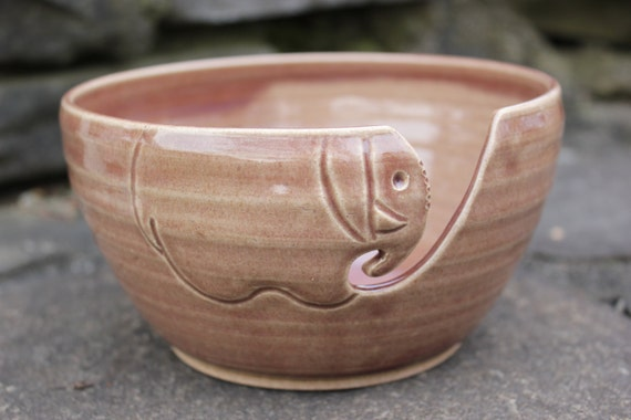 Pink Elephant Yarn Bowl, Ceramic Yarn Bowl, Yarn Bowl
