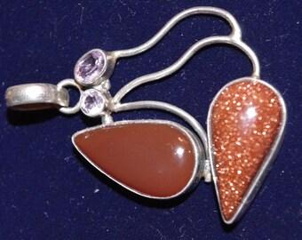 Vintage - Silver Sandstone Jasper and Amethyst stone - Modernist Pendant