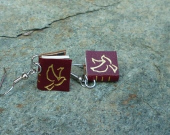Book Earrings , Red Leather Book Earrings, with gold gilded dove, and marbled endpapers