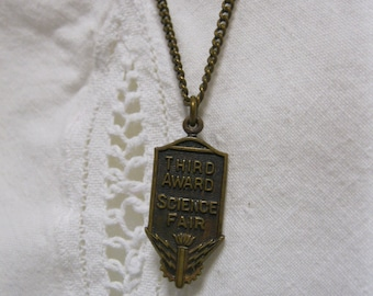 Vintage Science Fair Award Necklace Pin Pendant Copper Jewelry Collectible School