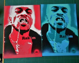 Rakim painting on card,stencil art,spray paints,hip hop art,rap,music,culture,american,pop,custom,portrait,urban,reds,pinks,blues,greens