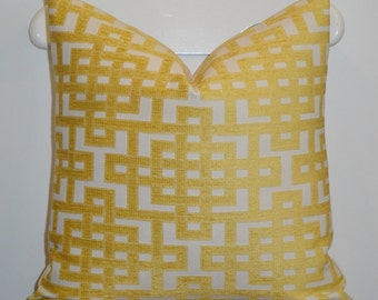 Decorative Pillow Cover - Sunshine Yellow - Trellis Pillow - Lattice - Geometric - Chenille