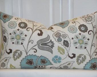 Decorative Pillow Cover - Grey - Teal - Brown - Green - Tan - Floral - Lumbar Cushion Cover - Accent Pillow