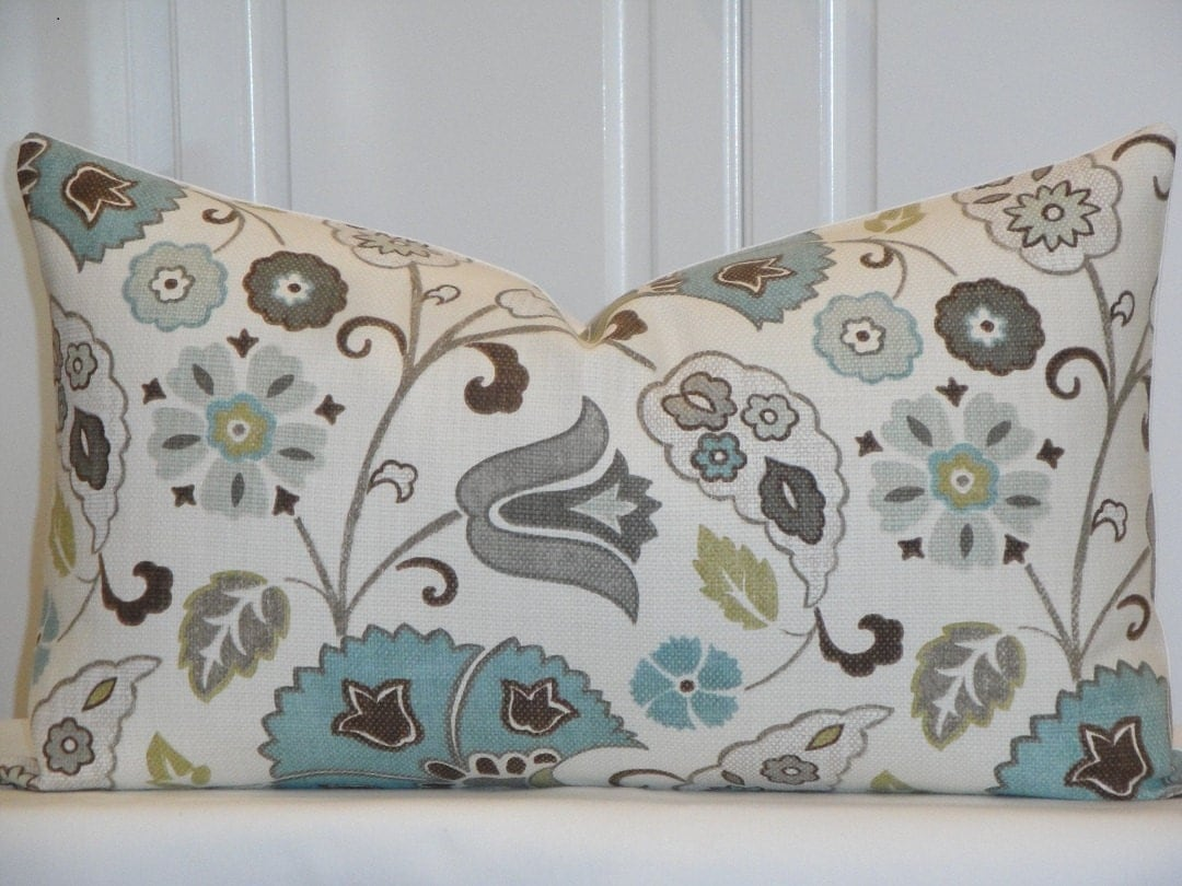 Decorative Pillow Cover Grey Teal Brown Green Tan
