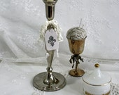 Tall Vintage Silver Candle Holder