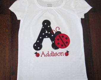 Embroidered  - Personalized Child's Initial or Birthday Number Lady Bug Shirt or Bodysuit