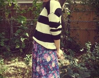 Purple Floral Print Midi Skirt