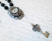 Necklace Marcasite Watch Assemblage Deco Upcycled Silver Key Black Beads - Rachel -