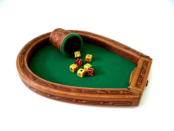 Vintage 40s 50s bakelite poker dice game with tooled leather cup and