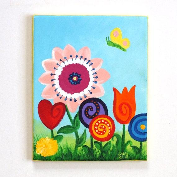 kids wall art for girls room little butterfly garden 8x10. Black Bedroom Furniture Sets. Home Design Ideas