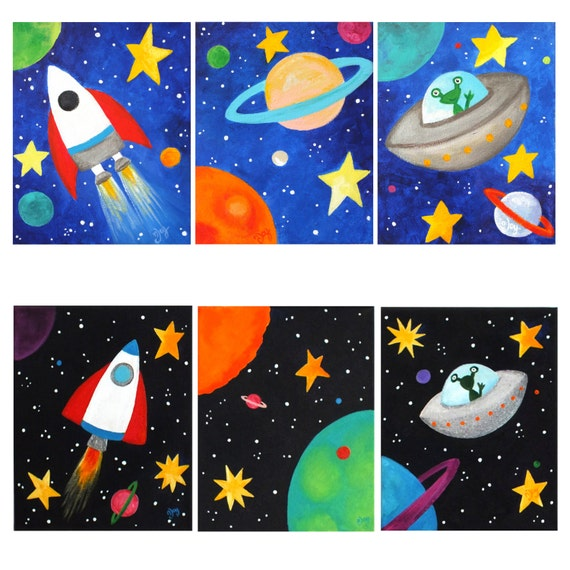 Space themed wall art for kids set of 3 custom space by for Outer painting design