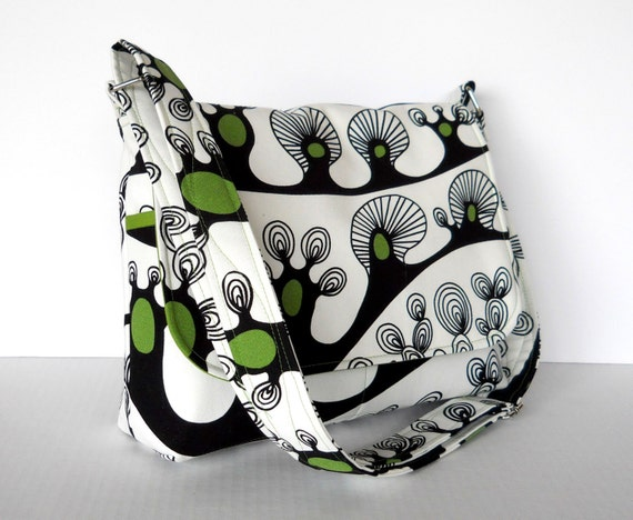 Canvas Messenger Bag Purse - IKEA Saralisa Abstract Trees in Green and Black