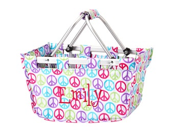 peace signs market tote with personalized embroidery- great Easter basket