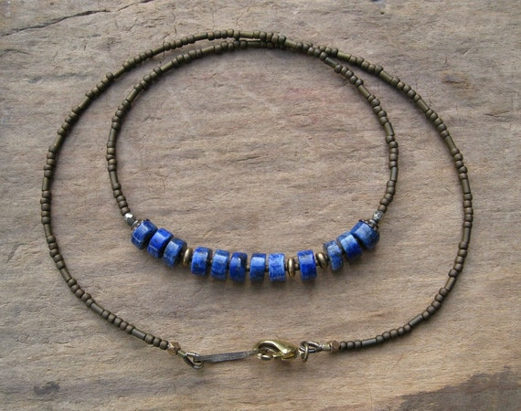 Bohemian Lapis Lazuli  Necklace, blue and gold everyday Boho tribal hippie necklace with denim blue lapis stone heishi beads & golden brass