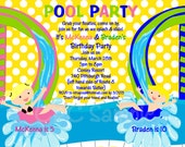 Pool Party Birthday Invitation - Printable or Printed - Water Slide Birthday Pool Party Invitations - Pool Party Birthday Invite Boys Girls