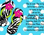 Pool Party Birthday Invitation - Printable or Printed - Party Supplies - Flip Flops Birthday Invitations