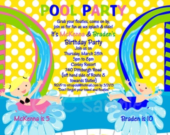 Pool Party Birthday Invitation - Printable or Printed - Water Slide Birthday Pool Party Invitations - Pool Party Birthday Invite Boys Girls