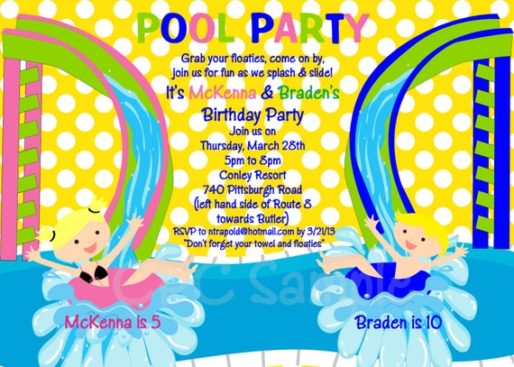 pool party birthday invitation printable or printed water,