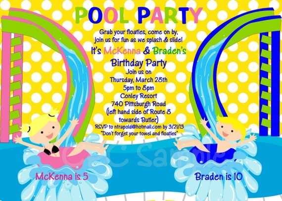 Pool Party Birthday Invitation Printable or Printed Water