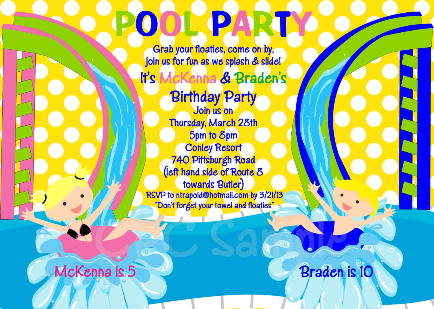 pool party birthday invitation printable or printed water, party invitations