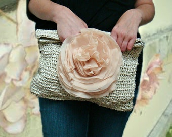 Oversized Clutch, Champagne Ivory Clutch Purse with Huge Chiffon Flower Pin, Crochet Clutch Bag