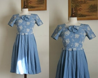 vintage cornflower blue bow 50's dress size S