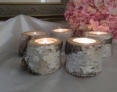 """5  - 2"""" Birch Candle Holders for Weddings, Holiday Christmas  Bridal Showers, Garden Party, Favors"""