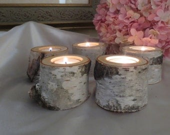 """15  - 3"""" Birch Candle Holders for Weddings, Bridal Showers, Garden Party, Favors"""
