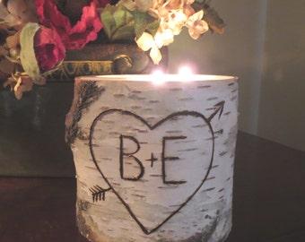 Gift for Wife Husband Fiance Girlfriend Boyfriend Personalized Birch Candle Wedding