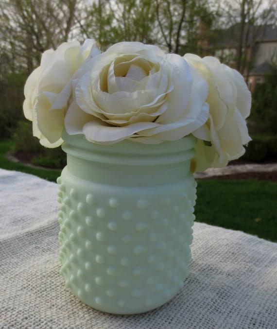 Seafoam Green Wedding Ideas: Hobnail Jar Sea Foam Green Home Decor Vase Votive Wedding