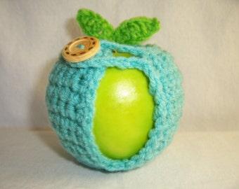 Handmade Crocheted Apple Cozy - Crochet Apple Cozy in Sea Blue Color