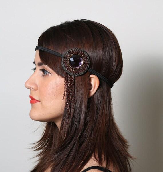 Beaded Bohemian Headband - gypsy, hippie, warrior, black, rust, flapper