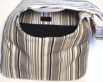 Hobo Bag Purse, Black and Off White Stripes