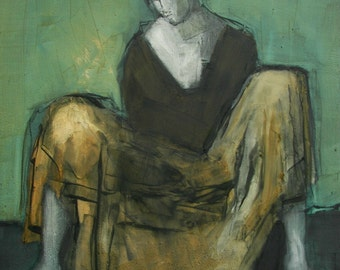Dancer 2 -  ABSTRACT FIGURE PORTRAIT Giclee print from my original oil painting
