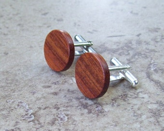 Pao Rosa Round Wood Cufflinks, Great Wood gift - 947
