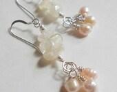 Citrine, Pink Freshwater Pearl Earrings, Wire Wrapped, Sterling Silver Earrings