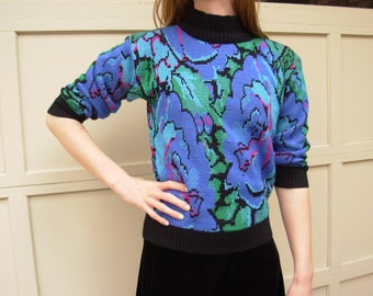Vintage 80's sweater 3/4 sleeve, electric neon blue rose knit, size small s or m medium