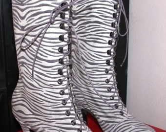 Victorian Boots High Heel Lace up  Zebra style leather Ankle boots Order your Customized boots